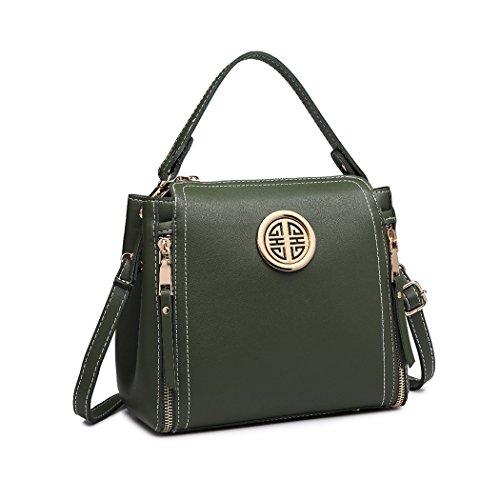 Miss Lulu Marca Mujeres Top Mango Bolsa Pu cuero cruzada bolso elegante bolso bolso pequeño clásico para mujer bolso de hombro (Verde)