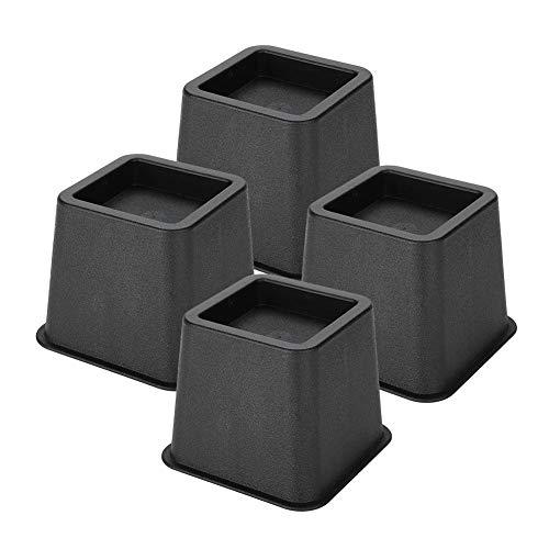 """4Pcs 3""""Bed Furniture Riser - Tischheber Tisch Hebeblock Tisch Wide Feet Lift Schutzständer Sofa Verstellbarer Supporter Bettwäsche Zubehör Heimgebrauch für Holz Teppichoberflächen Boden, Schwarz"""
