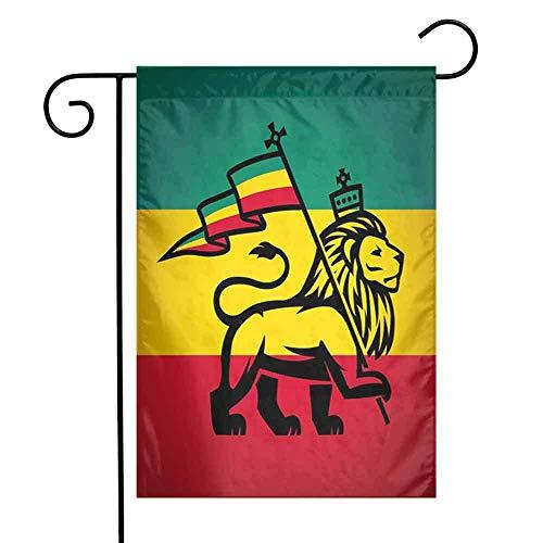 Rasta Gänseblümchen Frühlingshaus Flagge FloralJudah Löwe mit Einer Rastafari Flagge König Dschungel Reggae Thema Kunstdruck Frühlingshaus Flagge Blumen 12,5 'x 18' Zoll Schwarz Grün Gelb und Rot