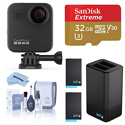 GoPro MAX Waterproof 360 Camera + Hero Style Video, 5.6K30 UHD Video 16.6MP Photos Power Bundle with Dual Charger, 2 Extra Battery, 32GB microSD Card, Cleaning Kit