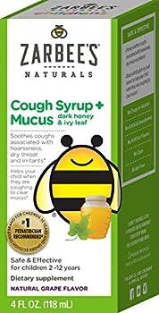 Zarbee s Naturals Children s Cough Syrup + Mucus with Dark Honey Flavor Ounce Bottle Grape 4 Fl Oz