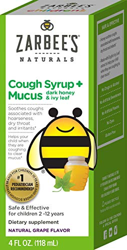 Zarbee's Naturals Children's Cough Syrup* + Mucus with Dark Honey, Grape Flavor, 4 Ounce Bottle