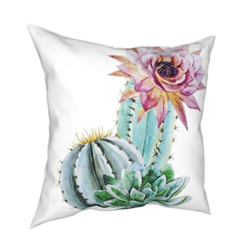 iksrgfvb Pillow Case Cushion Covers Watercolor Cactus Images Square Pillowcases for Living Room Sofa 18 x 18 inch