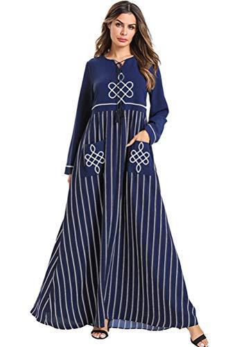 Muzułmański hidżab sukienka szlafrok Jilbab Ramadan Caftan Elbise turecki islamski odzież, ciemnoniebieski, M