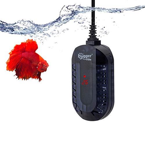 Hygger Calentador para Acuario,Ajustable Sumergible Calentador con LED Digital Controlador Externo Protector Antiexplosion para Pecera de Tortuga Betta y Pequena (50W, 1-25litros)