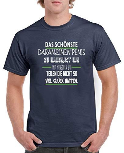 Comedy Shirts - Das schoenste daran einen Penis zu haben. - Herren T-Shirt - Navy/Weiss-Neongrün Gr. L