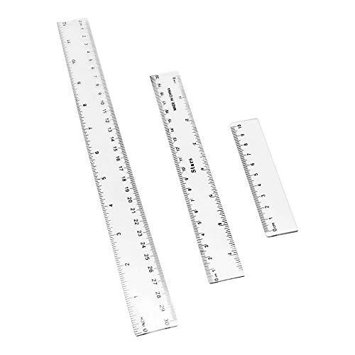 3 piezas, reglas de plástico, herramientas de medición, herramientas de oficina y herramientas de aprendizaje escolar (10, 20, 30 cm, 4, 8, 12 pulgadas) Color: transparente