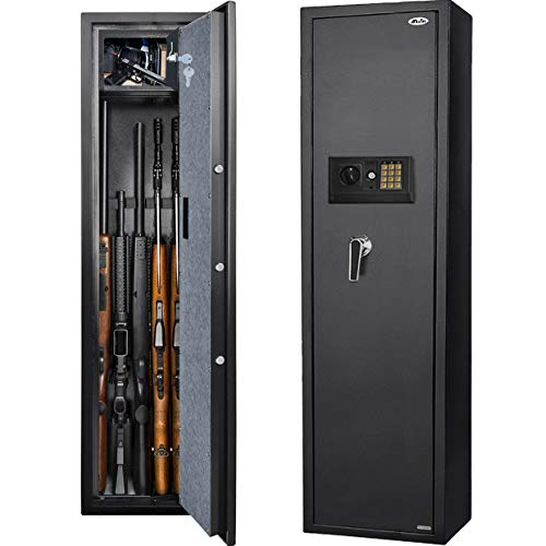 Moutec Large Rifle Gun Safe, Quick Access Rifle Gun Safe, 5-Gun Metal Rifle Gun Security Cabinet for Rifle with/Without Scope with Separate Pistol/Handgun Lock Box (Digital Keypad-Non Biometric)