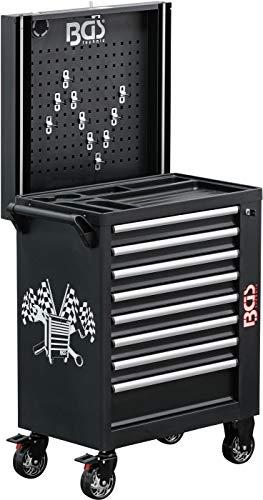 BGS 4108   Werkstattwagen   8 Schubladen   leer   mit Seitenschrank, Ablagen, Lochwand und Lautsprecher