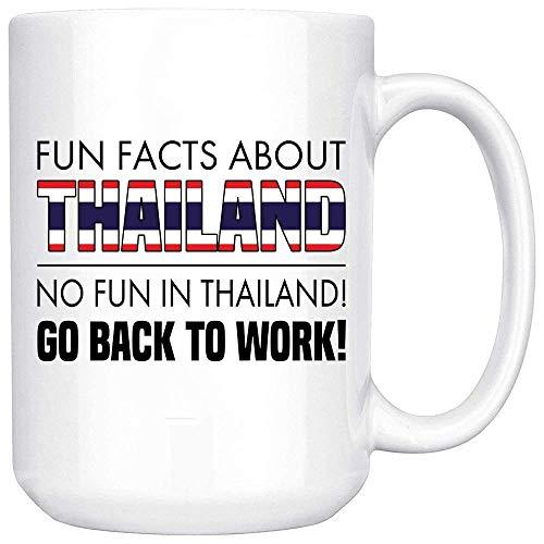 Taza de café blanca en dos tonos, con texto en inglés 'No Fun in Thailandia' y texto en inglés 'Go Back to work' - Regalo para amiga Coworker Oficial, taza de café blanco con caja de regalo