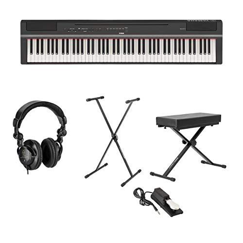 Yamaha P-125 88-Note - Pianoforte digitale con azione GHS ponderata, nero + supporto per tastiera, panca tastiera + pedale tastiera + cuffie monitor studio