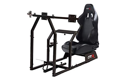 GTR Simulateur de course Gta-f Modèle (Noir) Triple ou simple support de moniteur avec assise en similicuir en noir, Simulateur de course cockpit Gaming Chair Unique support de moniteur