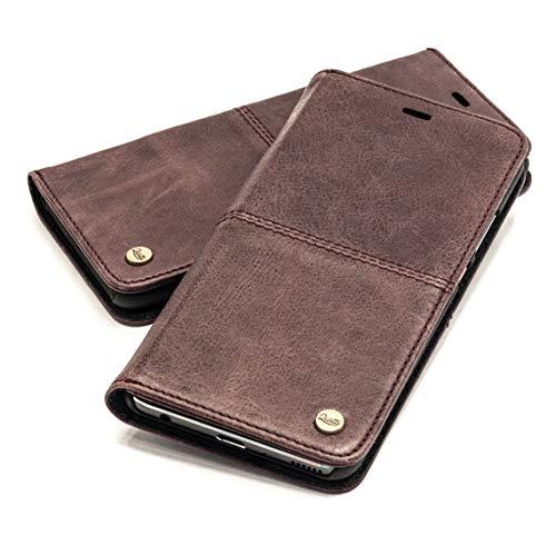 QIOTTI Hülle Kompatibel mit iPhone 11 Ledertasche aus Hochwertigem Leder RFID NFC Schutz mit Kartenfach Standfunktion in (Smart Coffee)