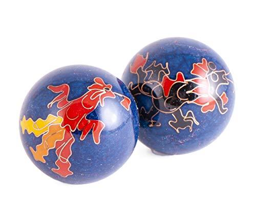 Qi-Gong-Kugeln Drache und Phoenix Blau mit Klangwerk 2St. 4cm mit Box | Meditation Klangkugeln | Esoterik Geschenke günstig kaufen