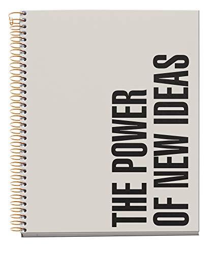 Miquel Rius - Cuaderno A5 - Tapa Extradura, 4 franjas de color, 120 Hojas Rayas Horizontales, Papel 70g Microperforado con 2 taladros para 2 anillas, Color Gris, Diseño New Ideas