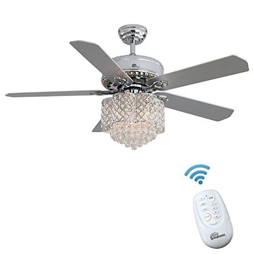 Sofucor Ceiling Fan with Lights AC 52' Indoor/Outdoor Ceiling Fan Kit, Crystal Ceiling Fan with Remote, Elegant Modern Ceiling Fans with 5 Walnut Reversible Composite blades (Brushed Nickel)