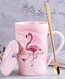 Soleiler Tazza Ceramica con cucchiaino e Coperchio Tazza Creativa Flamingo Tazza da caffè Tazze e tazzine da caffè per Regalo