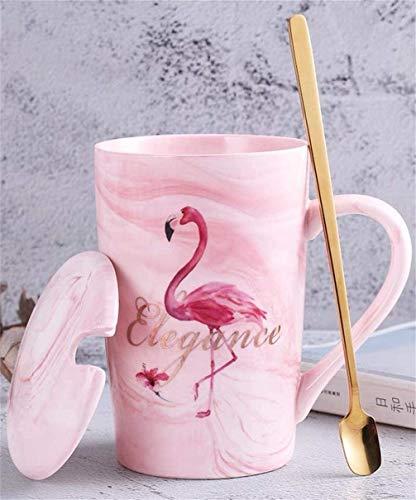 Soleiler Taza de cerámica con Cuchara y Tapa Tazas de té Taza de Flamenco Creativo Taza de café Tazas y Tazas de café para Regalos