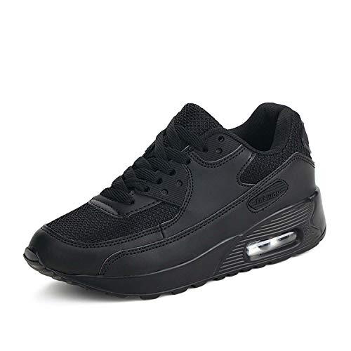 Mujer Zapatillas de Deporte con Amortiguación de Aire Zapatos con Cordones Transpirables para Caminar Correr Negro EU 35