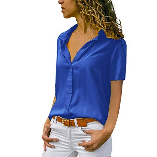 Vimoli Blusen Damen beiläufiges Revers Neck T-Shirt Kurzarm Schnalle Bluse Chiffon Asymmetrie Tops Einfarbig(Zc Marine,S)