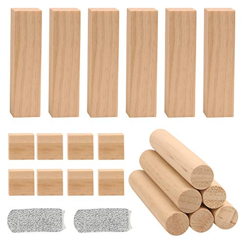 AirSMall 20pcs Lindenholz Schnitzholz Set Natürlich Holzblöcke zum Basteln & Schnitzen unfertige Schnitzblöcke Carving Blöcke mit 2 Fingerschutz für Erwachsene Kinder Handwerk DIY projekte