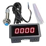 SIMNO JIAHONG tacómetro 4 Durable Portable útil tacómetro Digital LED RPM tacómetro + Interruptor de proximidad del Sensor Hall NPN Azul/Rojo # 291434 (Color : Red)