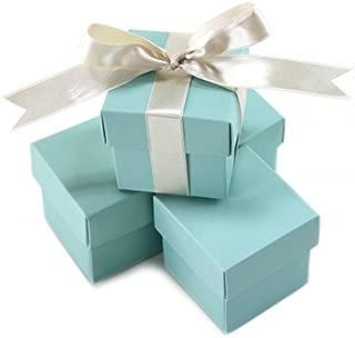 Koyal Wholesale 2-Piece 10-Pack Square Favor Boxes, Diamond Blue
