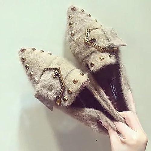 Wuyulunbi@ zapatos de mujer invierno confort pisos Señaló la convergencia para el exterior negro caqui
