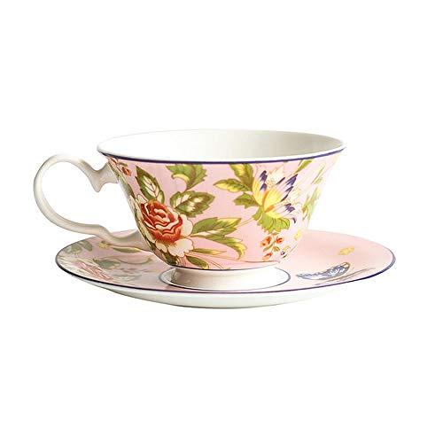 AOARR Getöpferte Tassen Cup Englisch Nachmittagstee Tee Set Knochen KnochenHochwertige Kaffeetasse Untertasse Teekanne Schwarzer Teetasse Keramikbecher Kaffeetasse Sets-E