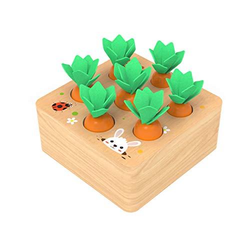 YGJT Montessori Spielzeug ab 1 Jahr | Kinder Motirikspielzeug für 12 Monate Jungen und Mädchen | Baby Holzspielzeug Karotten Ernete Puzzle | Geburtztag New Jahr Weihnacht Geschenk für Kleinkind