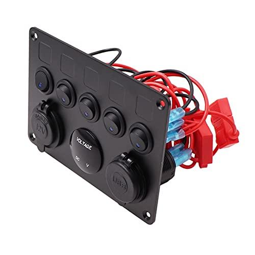LIANGJIN 8 Panel de interruptores de Rocker Gang Fit para Jeep Boat Marine COCE 12V 24V Impermeable al Agua 5pin 12V LED Interruptor de Panel con Conjunto de Etiqueta (Color : Green)