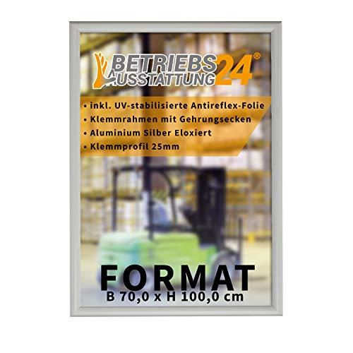 Betriebsausstattung24® Plakatrahmen mit Klemmrahmen   Alu Klapprahmen   25mm Aluminium Profil   inkl. entspiegelter Schutzfolie (Ecken auf Gehrung, Sondermaß (HxB 100,0x70,0 cm))
