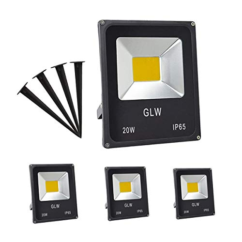 GLW 20W LED Landscape Lights 12V~60V AC/DC Flood Light Warm White 3000K Waterproof Garden Yard Path Lights Walls Trees Flags Outdoor Spotlights with Spike Stand (4 Pack)