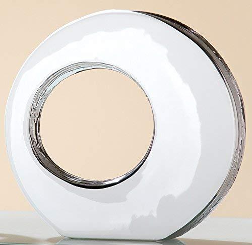 Gilde Moderno Vaso Vaso Vaso da Tavolo Vaso Decorativo in Ceramica Vaso con Foro e silberner glassa di Reazione, Bianco, 5,2x 25,5x 24cm