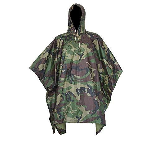 XUE Militar Impermeable Ejército Encapuchado Capa de Lluvia Poncho Camuflaje para Cámping Excursionismo Deportes al Aire Libre