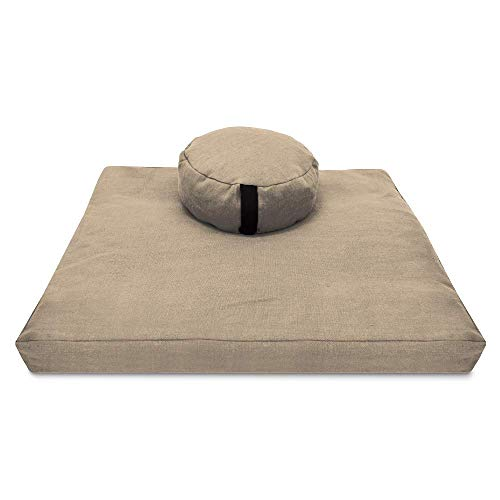Bean Products Zafu & Zabuton Meditation Cushion, Round, Hemp Natural - Filled with Natural...