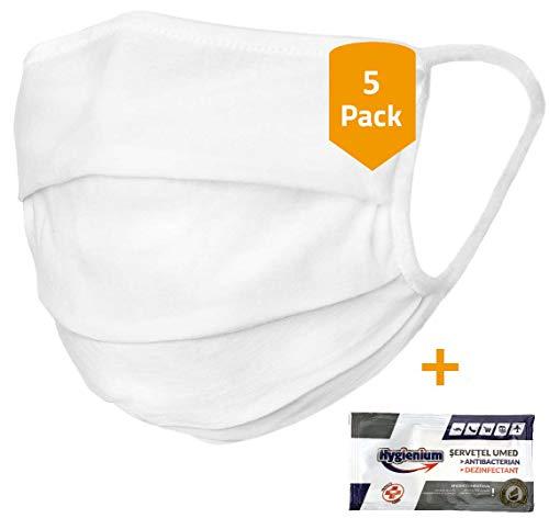 5er-Pack Mundschutz waschbar aus 100% Bio-Baumwolle Oeko-TEX 100 Standard, nachhaltig, Earloop-Design | wiederverwendbare Behelfs-Abdeckung für Mund Nase in weiß | 5 St. Hände-Hygienetücher gratis