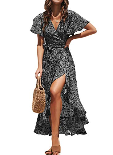 Fleur Wood Women's Short Sleeve V Neck Ruffle Floral Wrap Maxi Dresses Flowy Summer Boho Maxi Dress with Tie Belt Black