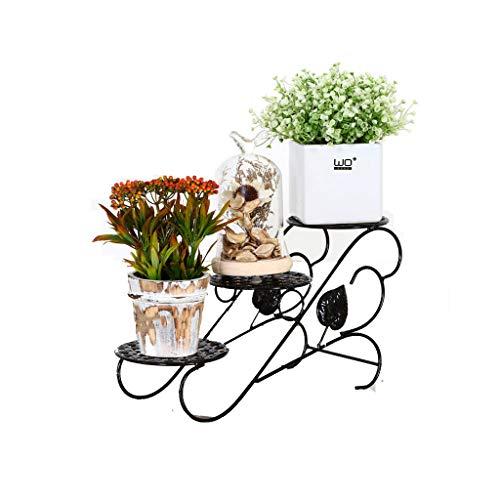 Rural Fer Art Stand De Fleurs En Plein Air Balcon Stand De Fleurs Salon Coin Stand De Fleurs Pliable Pot Pot De Fleur Bonsaï (Couleur : Noir)