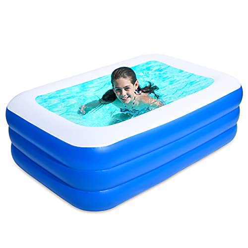 ZzWEI Inflatable Swimming Pool for Kids And Adults, Full-Sized Family Kiddie Blow Up Swim Pools, Summer Thick Paddling Pool for Outdoor Indoor Garden Backyard,1.5M