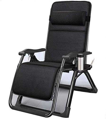 Sun Lounger Garden Chairs Foldable Deck Chair Zero Gravity Home Rocking Chair,Folding Lunch Break Nap Bed Balcony Leisure Backrest Cool Chair Lazy Couch (Color, Silver),Black