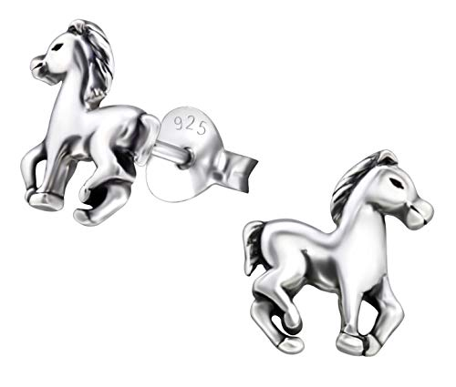 Hypoallergenic Sterling Silver Horse Tiny Stud Earrings for Children and Teens (Nickel Free)