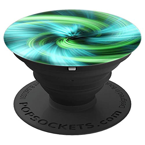 Blue Green Abstract Pattern Fractal PopSockets Grip and Stand for Phones and Tablets