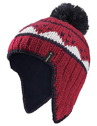 VAUDE Kids Knitted Cap IV Bonnet à Pompon Enfant pour Le Quotidien et Les Loisirs # Chaud # avec Rabat en Polaire pour protéger Les Oreilles Enfant Eclipse FR : S (Taille Fabricant : S)