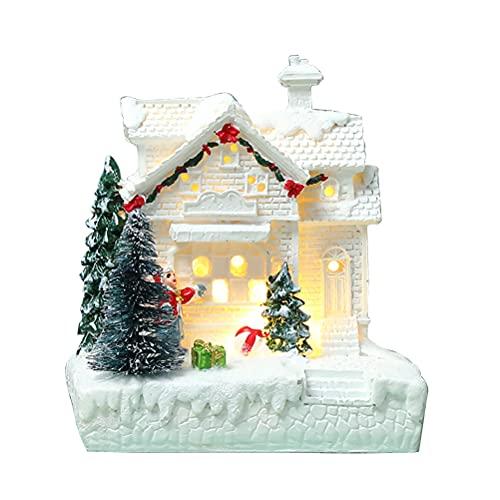 ZHAOCI Casa resplandeciente de Navidad, Casas de Pueblo con Cubierta de Nieve...