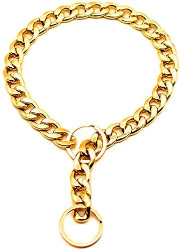 DFDFG Haustier-Halsband, Dicke Goldkette, Sicherheitshalsband für Haustiere, Hunde, verstellbare Kette, Punk, vergoldete Halsbänder 45cm