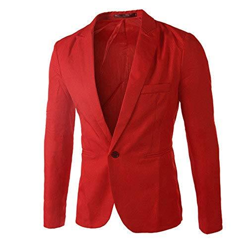 iHENGH Les Hommes de Charme décontracté Slim Fit Un Bouton Costume Blazer Manteau Veste Tops Hommes Mode(FR-44/CN-M,Rouge)