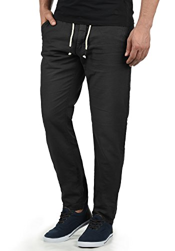 Blend Lian Herren Leinenhose Sommerhose Lange Stoffhose In Leinen-Optik aus Loose Fit, Größe:M, Farbe:Black (70155)