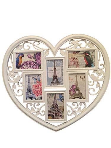 Lalia Fotorahmen Collage 6 Fotos Herzform XXL 50x60 cm Liebsten/die Liebste Hochzeit Geburtstag weiß Kunststoff Bilderrahmen 6 Fotos zu je 10x15cm (D2)