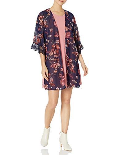 WallFlower Junior's Sleeveless Swing Dress & Printed Kimono Set, Rose, Large